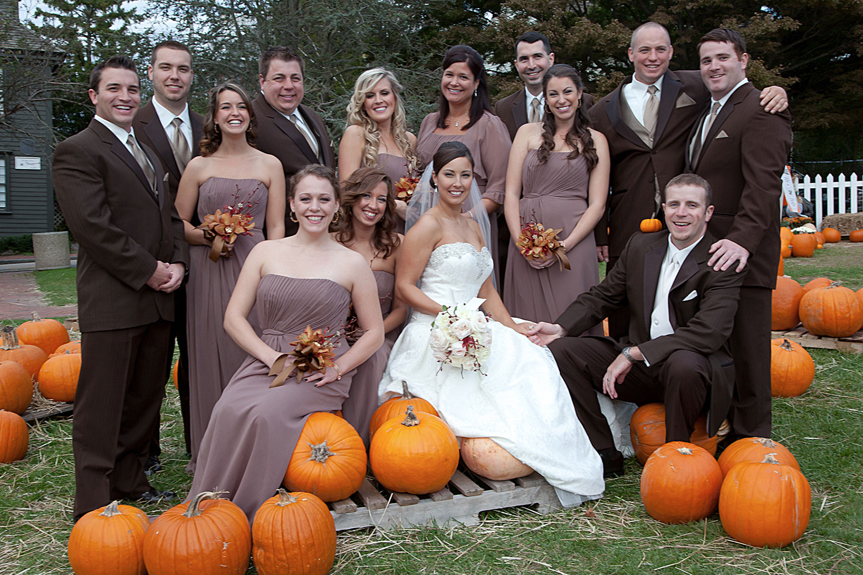 Wedding Party In The Pumkin Patch