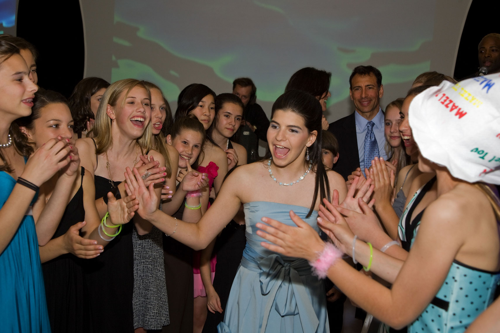 Laurel Greeted By Friends At Her Bat Mitzvah Party